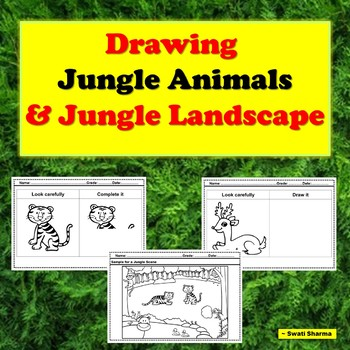 Drawing Jungle Animals and Jungle Landscape
