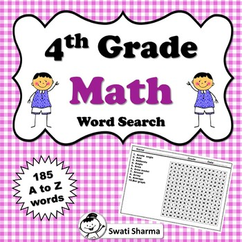 4th Grade Math Vocabulary, Word Search Worksheets