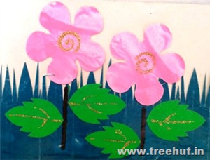 Paper Smudging Printing Flowers Art Ideas for Kids