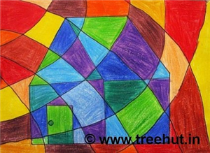 Warm and Cool Colors Abstract Art by kids
