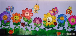 School Stage Decoration, Flowers Backdrop