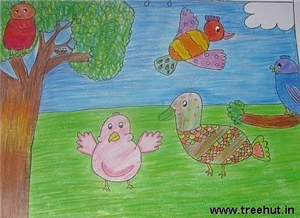 Abstract Birds by kids
