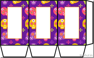 Colored Printable Halloween Paper Lantern Template