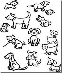 Cute Dog Drawing and Coloring Pages