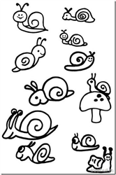 Cute Snail Drawing and Coloring Pages
