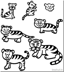 Tiger and Tiger Face Coloring Pages