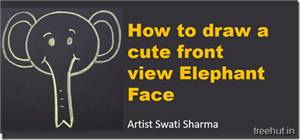 How to Draw a Cute Front view Elephant Face in 1 Minute
