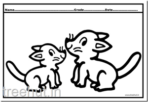 Cute Cat and Kittens Coloring Pages