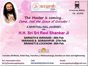 Sri Sri Ravi Shankar ji to visit Sarnath, Varanasi, Gorakhpur and Lucknow