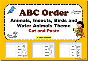 ABC Order Animals, Insects, Birds and Water Animals Theme Cut and Paste Worksheets