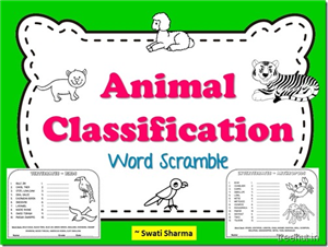 Animal Classification Word Scramble Worksheets for kids