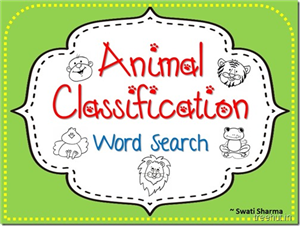 Animal Classification Word Search Science Worksheets for Grades 3 to 5